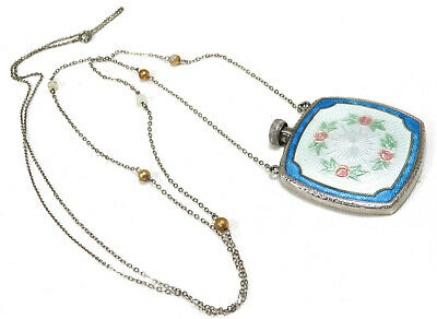 1920S Art Deco Sterling Silver Guilloche Enamel Perfume Scent Bottle - Necklace