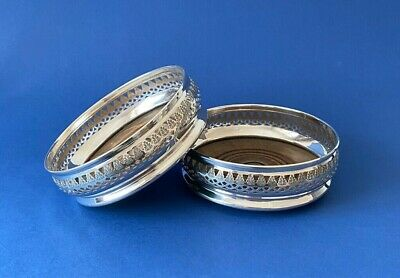 Pair of Pierced Solid Silver & Wooden Bottle Coasters - 1967 - D J Silver