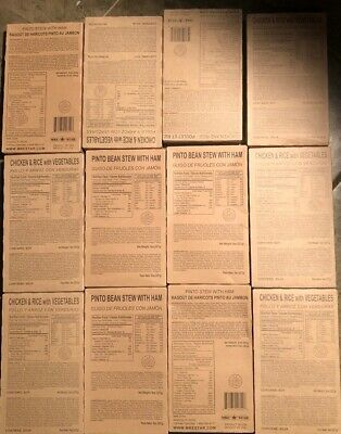 Case 12 MRE Entrees from Meals Ready to Eat Chicken Rice (7) Pinto Beans Ham (5)
