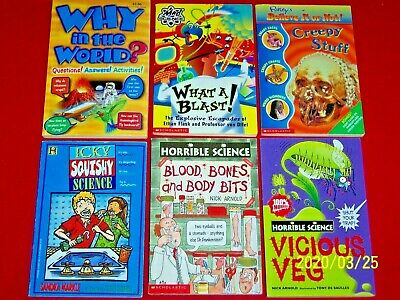 6 Books HORRIBLE SCIENCE Ages 7-11 Mad Science Icky Squishy 2nd 3rd 4th