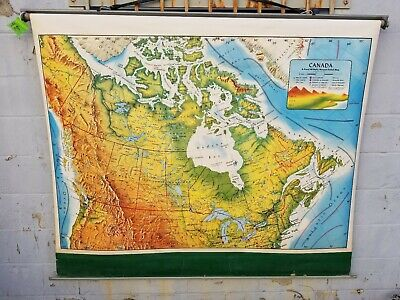 CANADA wall map Pull Down SPRING ROLLER Rand McNally 64 x 53 HUGE school home