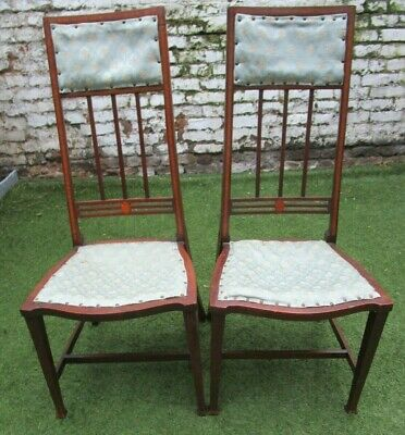 Arts & Crafts Charles Rennie Macintosh Style Mahogany Chairs Edwardian Inlaid