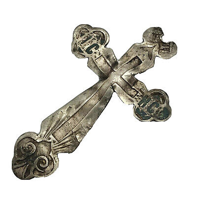 1700-1800's Silver Russian Byzantine Cross Pendant Artifact Europe Orthodox A