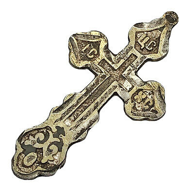 1700-1800's Silver Russian Byzantine Cross Pendant Artifact Europe Orthodox D