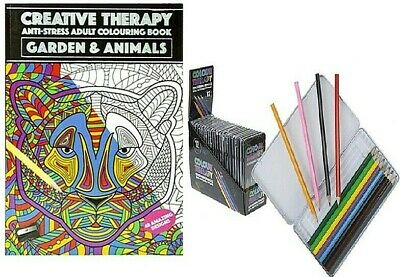 Garden & Animals Creative Therapy Colouring Book Pencils A4 Childrens Adults