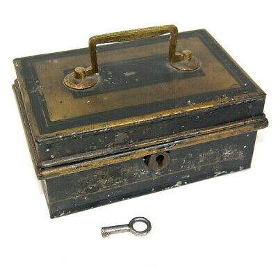 Vintage Antique Black Metal Tackle Military or Cigarette Holder Box Lock and Key