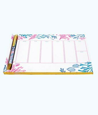 Lilly Pulitzer Weekly List Pad with Pen Crew Blue Tint Kaleidoscope Coral