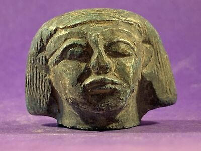 H141.Ancient Egypt. Stone Head. 1075-332 BC. Statuette.2,5x3,5 cms.Weight:34 gr
