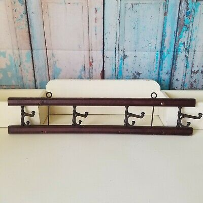 Antique Victorian Wall Mounted Iron Coat Hat Rack 5 Swivel Hooks