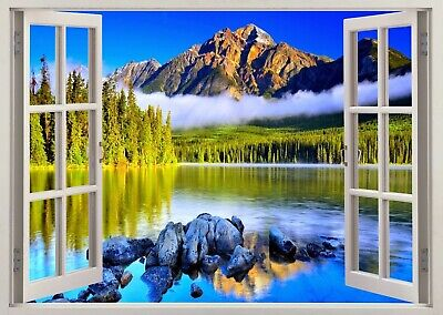 Nature Mountains Lake Scene 3d Smashed View Wall Sticker Poster Bedroom Z464