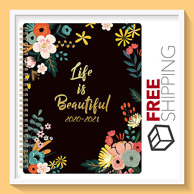 "NEW Academic Weekly & Monthly Planner 8"" x 10"" with Floral Cover (2020-2021)"