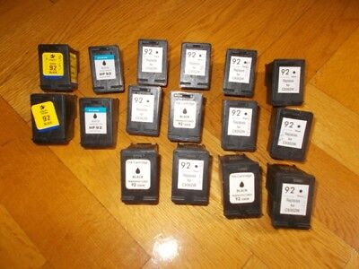 16 x HP 92 empty printer cartridges, replacement for C9362W Black