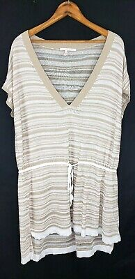 Victorias Secret Tunic Top Cover Up Size Small V Neck Tie Waist Semi Sheer Beige