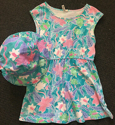 Ripcurl girls sun dress and hat. Floral print. Size 4-5