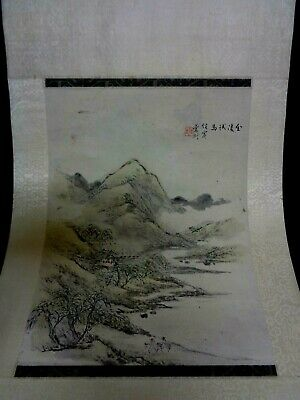Antique Japanese Watercolor Landscape Painting On Silk Signed Inscription Seal