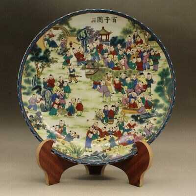 Chinese old Hand painted famille rose hundred son map porcelain plate c01