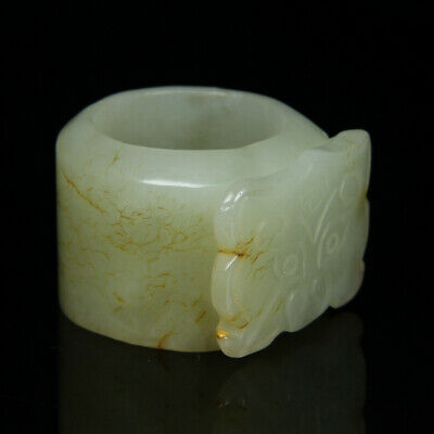 Chinese Exquisite Hand carved Hetian jade Thumb ring