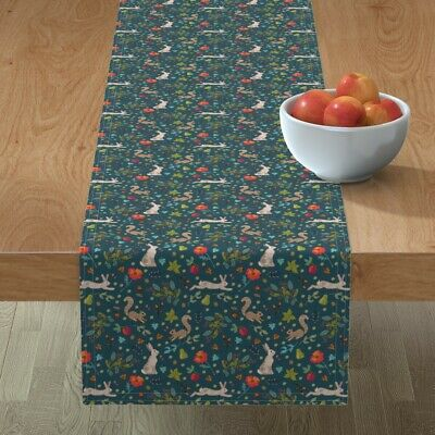 Table Runner Woodland Wildlife Squirrels Autumn Hare Ditsy Floral Cotton Sateen