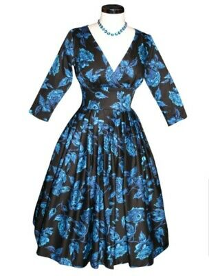 Retrospec'd  VIVIAN 3/4 SLEEVE MIDNIGHT ROSE BLUE vintage retro dress, size 12