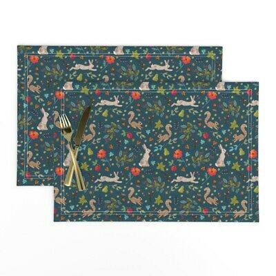 Cloth Placemats Woodland Wildlife Squirrels Autumn Hare Ditsy Floral Set of 2