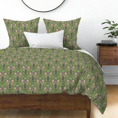Frog 1920S Style Art Decor Green Artwork Nouveau Sateen Duvet Cover by Roostery