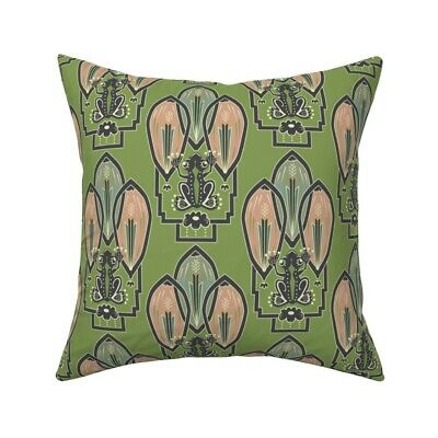 Frog 1920S Style Art Decor Throw Pillow Cover w Optional Insert by Roostery