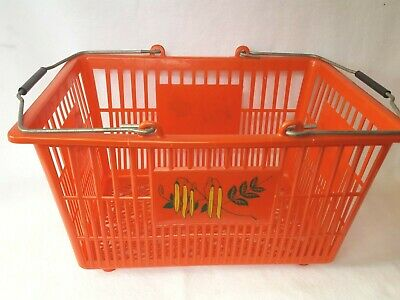 Vintage Red Grocery Shopping Hand Basket Plastic with Metal Handles