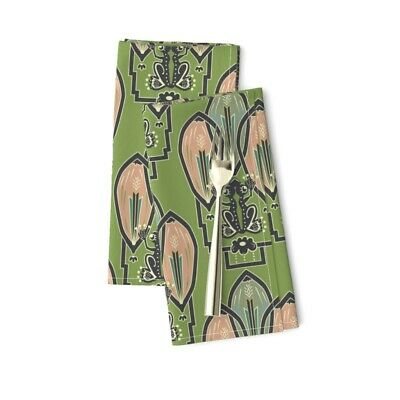 Frog 1920S Style Art Decor Green Cotton Dinner Napkins by Roostery Set of 2