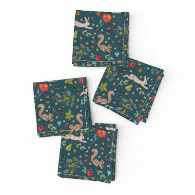 Cocktail Napkins Woodland Wildlife Squirrels Autumn Hare Ditsy Floral Set of 4