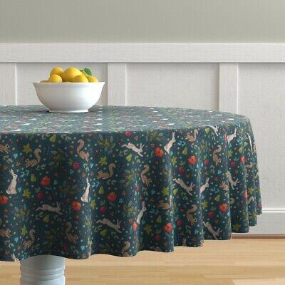 Round Tablecloth Woodland Wildlife Squirrels Autumn Hare Ditsy Cotton Sateen