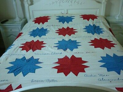 Vintage Hand Embroidered signature/autograph red and blue stars USA Quilt top.
