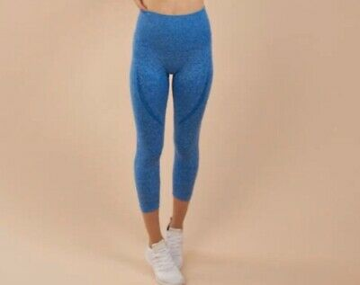 Gymshark Seamless Leggings Original Style Blue Size Small Cropped
