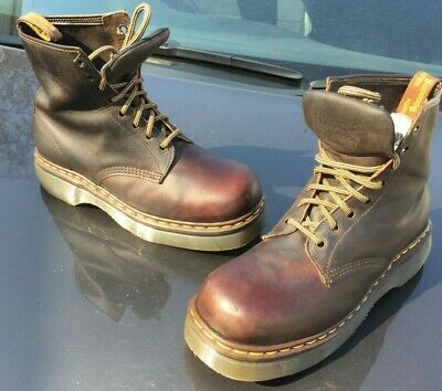 Vintage Dr Martens 8499 brown leather chunky boots UK 10 EU 45 Made in England