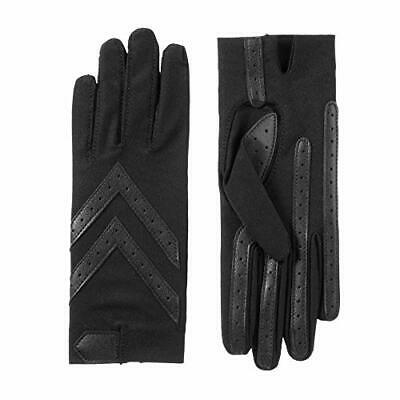 isotoner Women's Spandex Stretch Shortie Cold Weather Gloves with Leather Palms