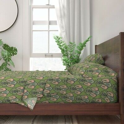 Frog 1920S Style Art Decor Green 100% Cotton Sateen Sheet Set by Roostery