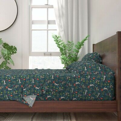 Woodland Wildlife Squirrels Autumn Hare 100% Cotton Sateen Sheet Set by Roostery