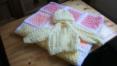 Hand Knitted Cardigan, Hat and Crocheted Pram Blanket for Newborn Baby Girl