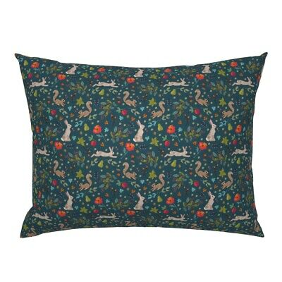 Woodland Wildlife Squirrels Autumn Hare Ditsy Floral Pillow Sham by Roostery