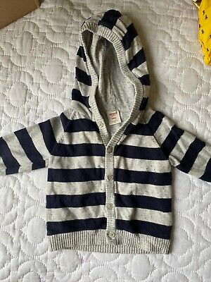 Seed baby boy Jumper With Hood Size 00 3-6 Months Navy & Grey
