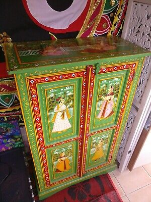 Indian Rajasthan/Mughal style Painted Wardrobe