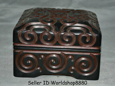"8"" Qianlong Marked Old Chinese Red Lacquerware Dynasty Palace Storage Box Boxes"