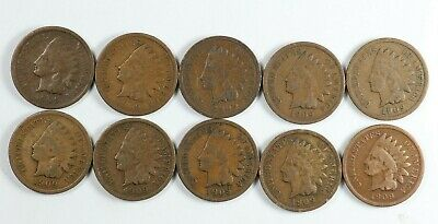 Lot of (10) 1909 Indian Head Cents 1C - Last Year
