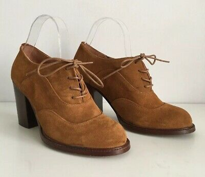 OFFICE LONDON Tan Suede Leather Block Heel Lace Up Shoes ~UK 5~ Smart Casual