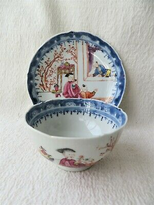 Antique 19Thc Chinese Tea Bowl & Saucer Hand Painted