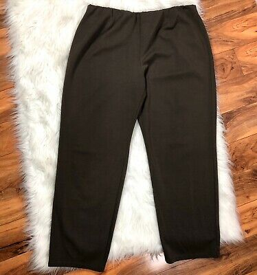 EILEEN FISHER Woman Taupe Brown Stretch Ponte Knit Skinny Leg Pull On Pants 3x