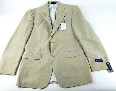 Stafford Mens Size 38 Regular Beige Solid Classic Fit Blazer Suit Jacket New