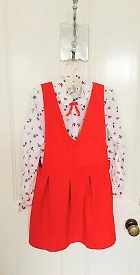 Girls Next Blouse & Textured Pinafore Dress Set In Red Age 11 Brand New LAST ONE