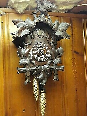 Antique *German Black Forest*  Huge! Quail Cuckoo Clock With Bird Stunning!