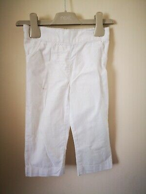 Next Girls Age 3-4 Years White Linen Pants Trousers.
