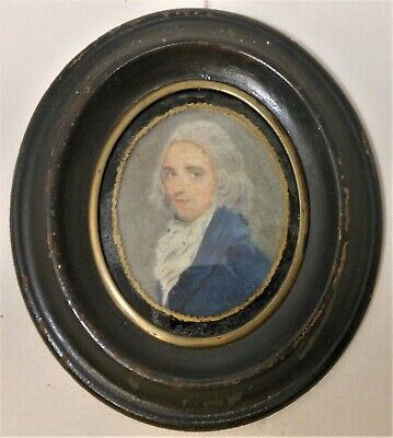 Great Antique Early 19th Century Watercolor Portrait Of Gent In Original Frame
